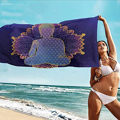 Antonia Reed Personalized Beach Towel Custom Psychedelic,Asana Asian Philosophy Yoga Pose Peaceful Ritual Body Energy Karma Image,Purple Lavender,Suitable for bathrooms,Beaches,Parties 32
