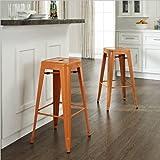 Cheap Crosley Furniture Amelia Set of 2 Metal Cafe Backless Barstools Orange