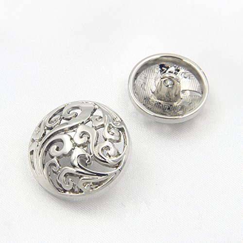 Hollow Clouds Metal Shank Buttons for Fashion Coats(Silver/Gold/Gun black,Pack of 6) (0.98 inches, (Silver Button Coat)
