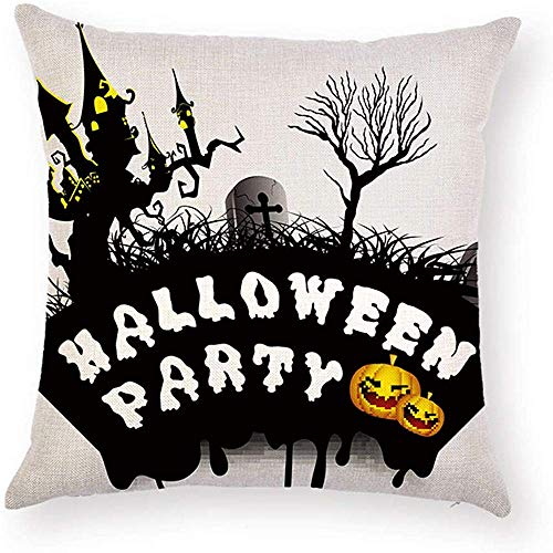 Fhdang Decor Lovely Fashion Funny Black Tree Castle Cross Tombstone Sayings Halloween Party Quotes Pillowcase Pumpkin Pillow Case Cushion Cover Protector Square 18 x 18 inch for Couch Sofa]()