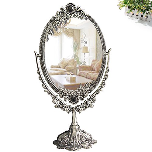 KINGFOMTM Vintage Style Oval Double-Sided Makeup Mirror with Rust-Proof Alloy Frame