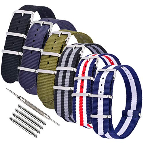 Nylon Watch Bands NATO Watch Strap Replacement Fabric Ballistic Military 18mm 20mm 22mm Blue Purple