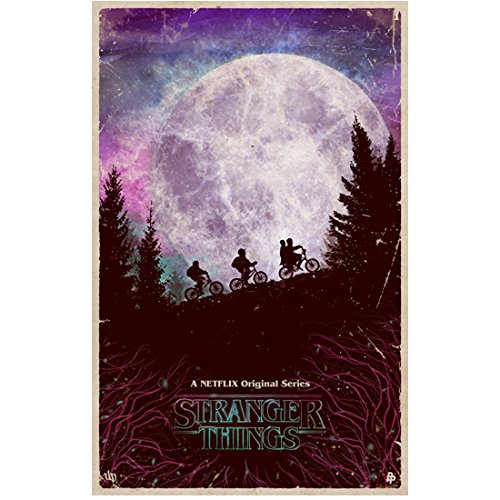 Stranger Things 80's Style Kids Biking Up Hill 11 x 17 Inch Lithograph Poster