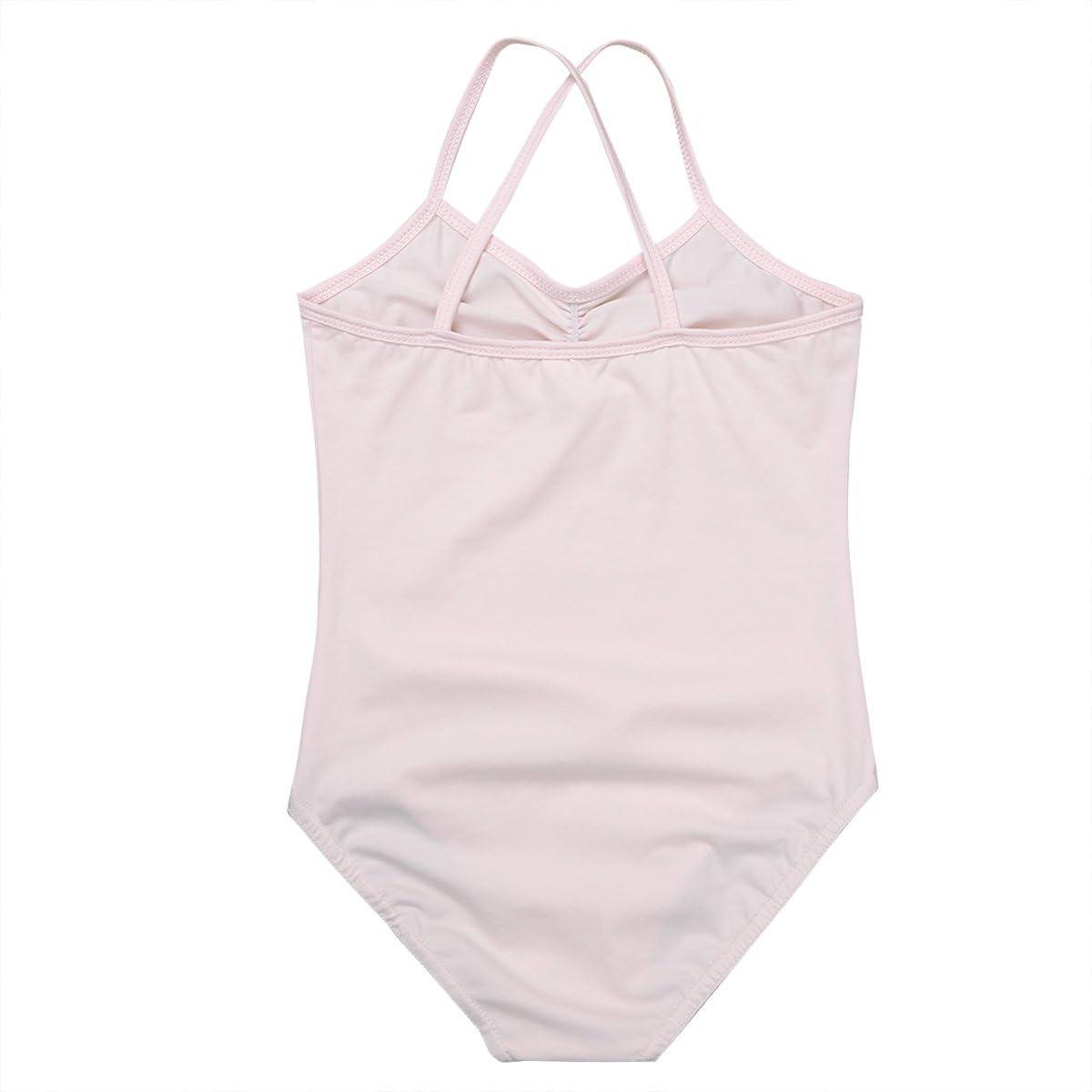 inlzdz Kids Girls Camisole Ballet Dance Gymnastics Leotard Bodysuit Tops Criss-cross Back Dance wear Costume