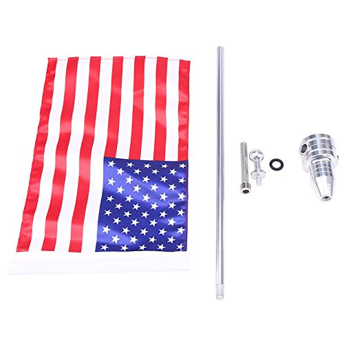 E-Bro Luggage Rack Vertical Rear Side Mount Flag Pole with American Flag For Harley Davidson Honda Suzuki Yamaha (USA Flag with Round Pole) by E-Bro (Image #3)