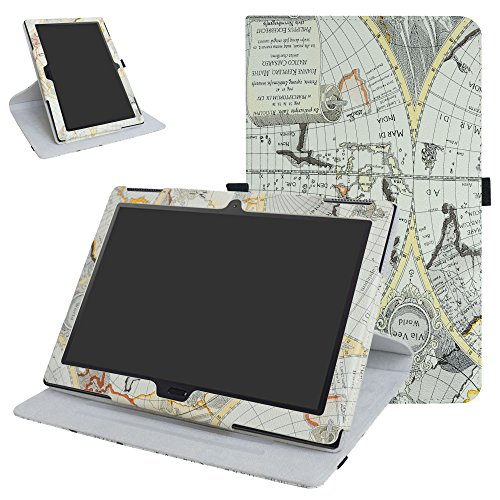 Lenovo Moto tab X704A / Tab 4 10 Plus Rotating Case,Mama Mouth 360 Degree Rotary Stand with Cute Pattern Cover for 10.1 Lenovo Moto tab X704A / Tab 4 10 Plus Tablet,Map White