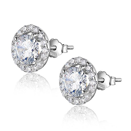Newshe Fashion Stud Earrings for Women Post 14k Rose Gold 925 Sterling Silver White AAA Cz Multi Style