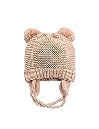 XIAOHAWANG Baby Boys Girls Hats Cute Pompom Ears Knit Winter Caps Toddler Earflap Beanies