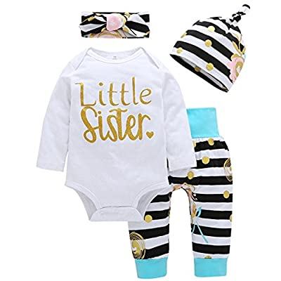 Lankey 4Pcs Baby Girls Clothes Little Sister Long Sleeve Romper+Striped Long Pants+Hat