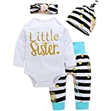 4Pcs Baby Girls Clothes Little Sister Long...