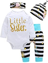 Baby Girl Clothes Little Sister Long Sleeve Romper+Striped Long Pants+Hat 4Pcs