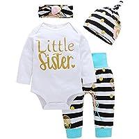 Lankey Baby Girl Clothes Little Sister Long Sleeve Romper+Striped Long Pants+Hat 4Pcs