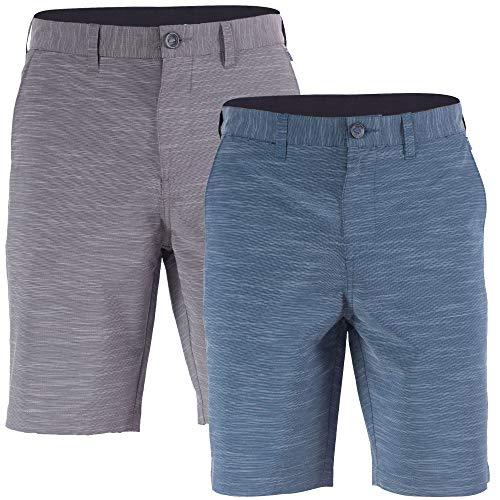 Visive 2 Pack Mens Hybrid Golf Board Shorts Quick Dry Stretch Casual Walk Short Grey/Navy - - Front Flat Mens Microfiber Shorts