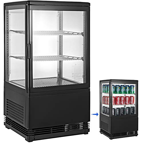 VBENLEM 2 cu. ft.(58L) Commercial Beverage Refrigerator Glass Door Countertop Display Cooler Drink Show Case with LED Lighting Black Freestanding Display Fridge for Supermaket Bar Office Use