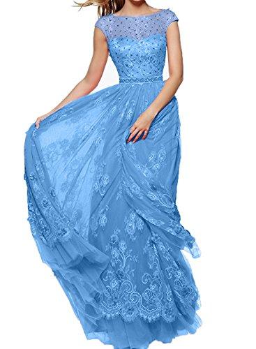 A Blau Prinzess Rock Festlichkleider Rock Partykkleider Damen Spitze Lang Abendkleider Promkleider Charmant Linie cYq1wZ77