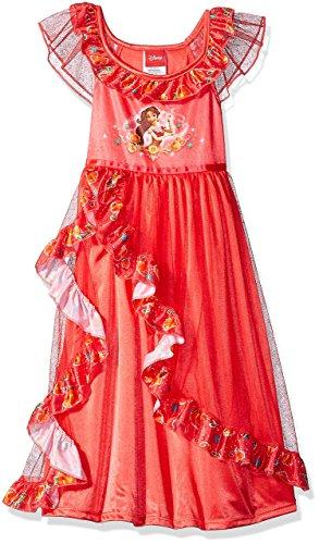 Princess Christmas Dresses (Disney Princesa Fantasy Nightgowns, Elena Red, 4, Elena Red, Size 4-5)
