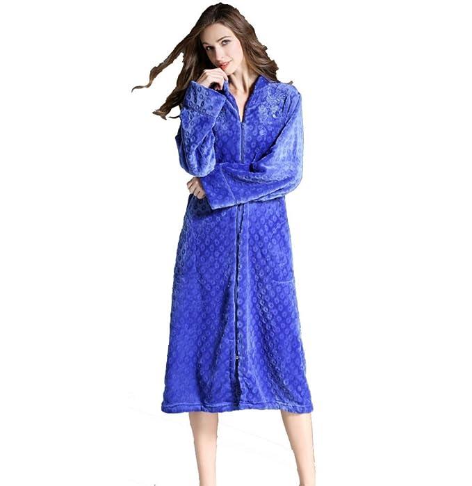 Las Albornoces de Las Mujeres largas, Albornoces Bordados Atractivos Cremallera/paño Grueso y Suave Batas de Terciopelo más tamaño/Rebeca túnicas largas de ...
