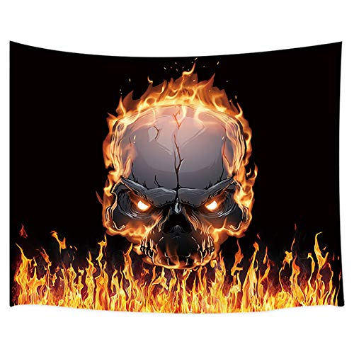 JAWO Magical Tapestry Wall Hanging, Burning Skull with Flame Tapestries, Polyester Fabric Large Wall Tapestry for Home Living Room Bedroom Dorm Decor 80W X 60L Inches