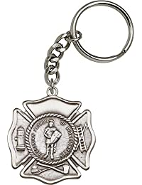 Antique Silver-Plated St. Florian Keychain 1 7/8 x 1 5/8 inches