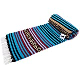 "El Paso Designs Peyote Hippie Blanket . Classic Mexican Style Falsa Stripe Pattern in Vivid Peyote Colors. Throw, Bed, Tapestry, or Yoga Blanket. Hand Woven Acrylic, 57"" x 74"""