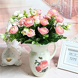 Lopkey Silk Artificial Flowers Tea Bunch with Small White Flower for Home Decor 29