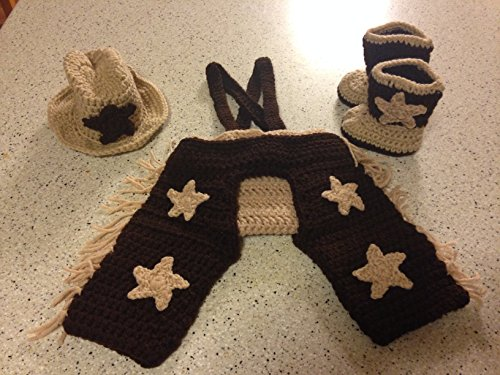 6 -12 Month Infant Cowboy Diaper Cover with Hat Boots and Chaps Full Set Photo Prop (Infant Cowboy Chaps)