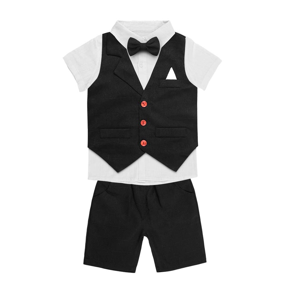 Bow Tie 4 Pieces Outfit Clothing Shirt Baby Boy Summer Tuxedo Short Suit Set Vest Yilaku Toddler Kids Vest Short Sets Pants