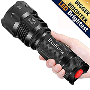 REHKITTZ Torch LED Torch Tactical Military Torches Super Bright Powerful Lumens Adjustable Focus Flashlight