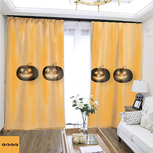 Fashion Curtain Dark Cute Halloween Pumpkins Isolated on Orange Background Vector Illustration W96 x L120 Shade Curtain Set Highprecision Curtains for bedrooms Living Rooms Kitchens etc. -