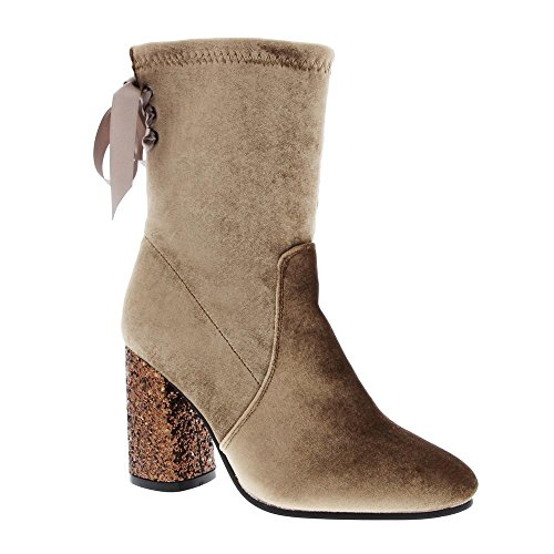 with Angelina Up Lace Heel Glitter Back Taupe Dress Bootie Women's Velvet Ribbon RZqYOB
