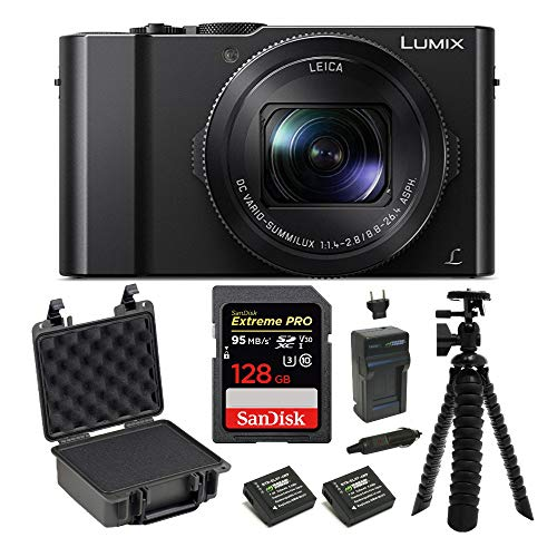 Panasonic LUMIX LX10 4K 20.1MP Digital Camera with Leica 24-72mm Lens (Black), 128GB SD Card, Battery/Charger, Protective Case, and 10