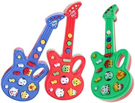 Monbedos Mini guitarra eléctrica juguete para niños dibujos animados multifunción teclado electrónico para niños temprano juego educativo aprendizaje (color al azar): Amazon.es: Hogar