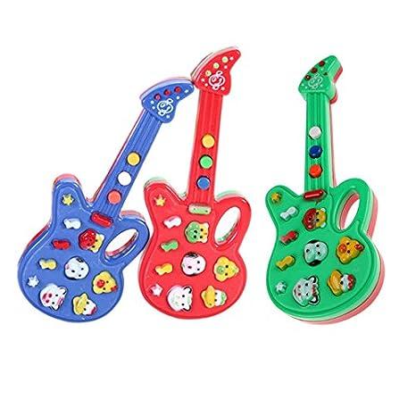 Monbedos Mini guitarra eléctrica juguete para niños dibujos animados multifunción teclado electrónico para niños temprano juego