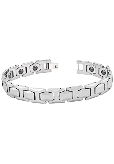 Peora Valentine Tungsten Magnetic Therapy Men's Bracelet w/Hexagon Faceted Links w/Fold Over Clasp (PTB542) Bracelets & Kadas at amazon