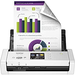 Brother Wireless Document Scanner, ADS-1700W, Fast Scan Speeds, Easy-to-Use, Ideal for Home, Home Office or On-the-Go Professionals (ADS1700W), white