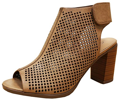 Tan Peep Toe (Cambridge Select Women's Laser Cut Slingback Stacked Heel Pump Bootie (8 B(M) US, Tan))