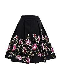 FTVOGUE Falda midi plisada con estampado floral vintage de cintura alta en A-line para mujeres