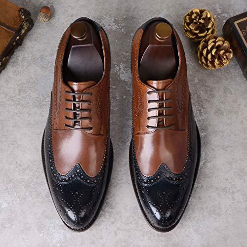 YongBe Herren Business Büro Arbeit Brogue Leder Leder Leder Oxford Lace-Up Schuhe Smart Formale Runde Kappe Derby Männer Hochzeit Party Loafer Wohnungen bbcce6