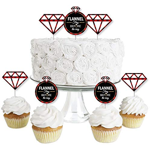 Flannel Fling Before The Ring - Dessert Cupcake Toppers - Buffalo Plaid Bachelorette Party Clear Treat Picks - Set of 24 ()