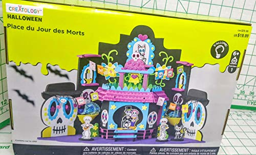 Creatology Halloween Dia de Los Muertos Plaza with Decorative Skeletons inc Bride and Groom. 296 Piece Set That Lights UP. MSRP -