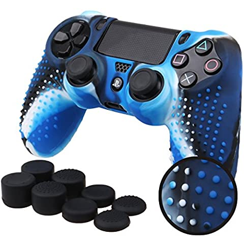 Pandaren STUDDED Anti-slip Silicone Cover Skin Set for PS4 /SLIM /PRO controller(CamouBlue controller skin x 1 + FPS PRO Thumb Grips x (Xbox 360 Aluminum Triggers)