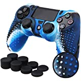 Pandaren STUDDED Anti-slip Silicone Cover Skin Set for PlaySation 4 controller(CamouBlue controller skin x 1 + FPS PRO Thumb Grips x 8)
