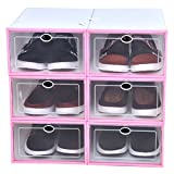 Familamb Shoe Box 6 Pack Foldable Stackable Storage Clear Plastic Box Pink