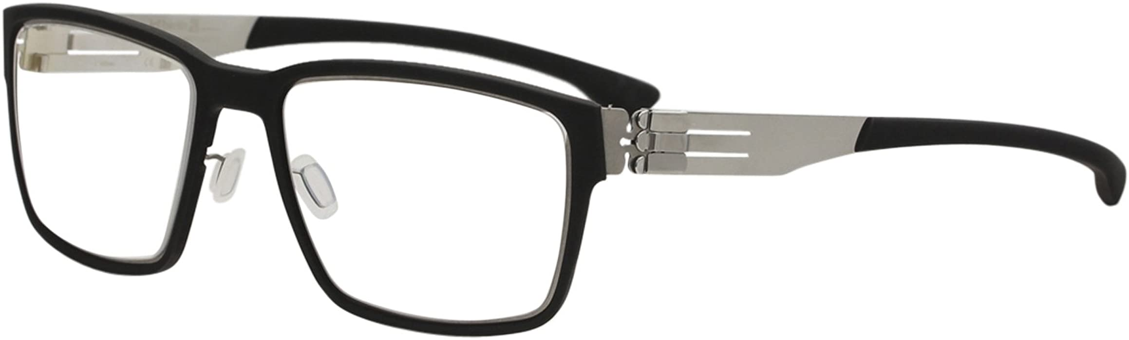 e58787d964 Amazon.com  Ic! Berlin Eyeglasses Nino S. Black Rubber Chrome Full Rim  Optical Frame 53mm  Clothing