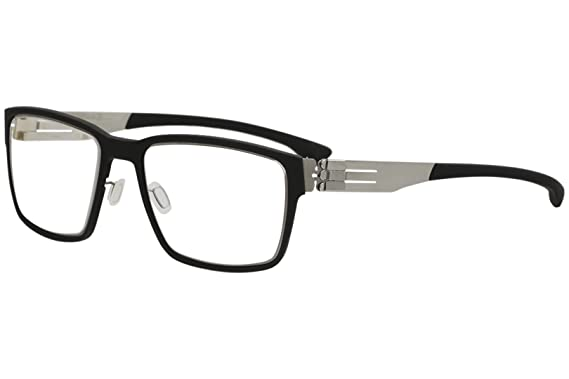 71bdc45d1fd Amazon.com  Ic! Berlin Eyeglasses Nino S. Black Rubber Chrome Full ...