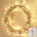 Flight Christmas String Lights, 8 Modes 3AA Battery-Operated Powered 33ft 100LED Waterproof Decorative Fairy LED Light for Seasonal Holiday,Patio,Yard,Party (Warm White)
