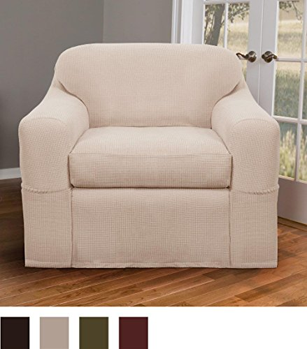 Surprising Maytex Stretch Reeves 2 Piece Slipcover Chair Natural Home Interior And Landscaping Eliaenasavecom