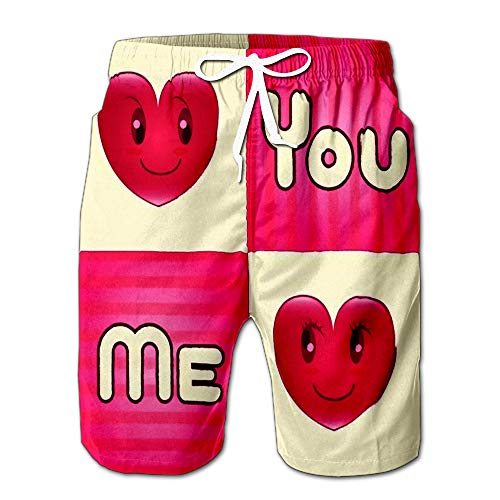 (Summer Shorts Pants Man and Woman Heart You Me Word in Four Square Mens Golf Sports Shorts XL)