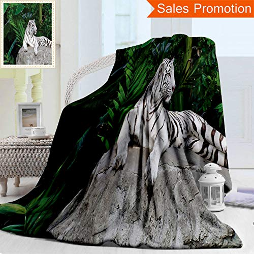Unique Double Sides 3D Print Flannel Blanket Safari Decor White Tiger Setting On Stone Tropic Plants Leaves Jungle Majestic Creature W Cozy Plush Supersoft Blankets for Couch Bed, Twin Size 60