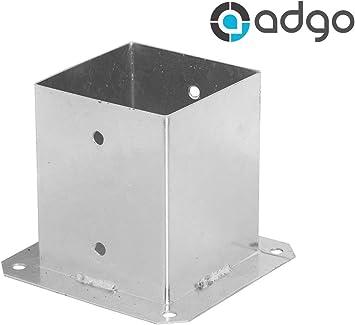 ADGO® - Soporte para poste de valla (120 x 120 mm, galvanizado): Amazon.es: Bricolaje y herramientas